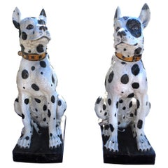Monumental Pair of 20th Century Italian Glazed Terracotta Dog Sculptures