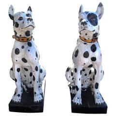 Unbelievable Large Pair of 20th Century Italian Ceramic Glazed Great Dane Dogs