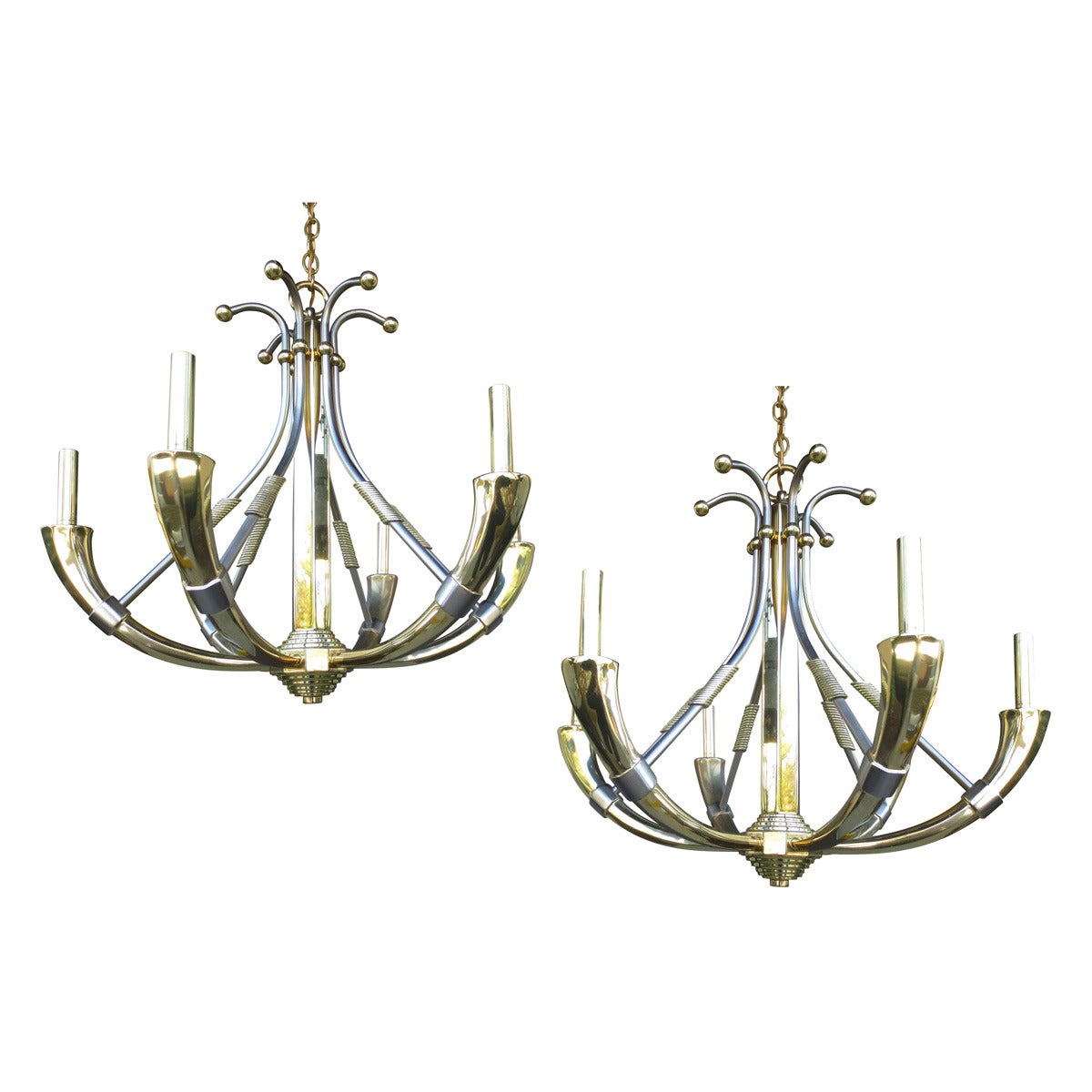 Pair of Mid-Century Chandeliers in the Style of Jansen For ...