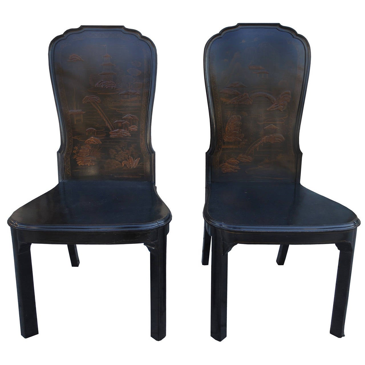 Pair Of 19th Early 20th Century Chinoiserie Hall Chairs At 1stdibs