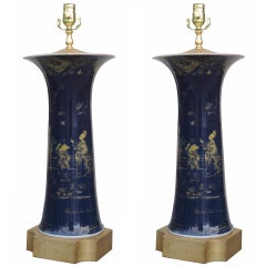 Pair of 19thC Chinese Large Porcelain Lamps,on Custom Gilded Bases