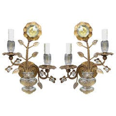 Pair of 1960s Bagues Style Sconces Over Large Scale Prism
