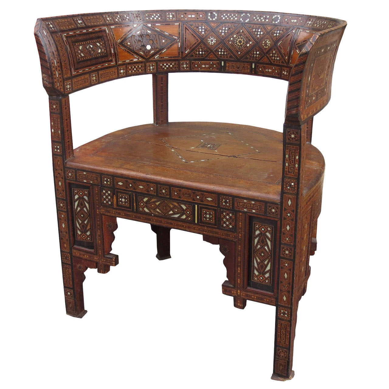 Exotic Wood Chairs ~ Th century syrian barrel chair exotic wood circa