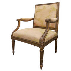 19th Century French Napoleon III Carved and Giltwood Fauteuil