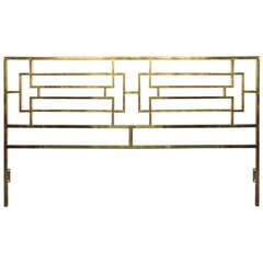 Mid Century Brass King Size Headboard, Possibly Mastercraft