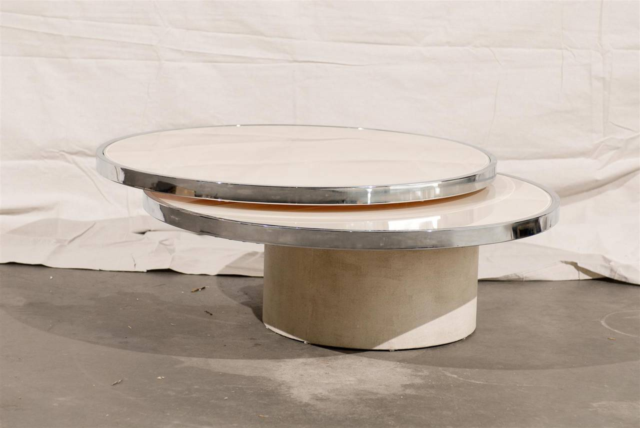 Mid century round rotating glass coffee table in the style of mid century round rotating glass coffee table in the style of rougier 2 geotapseo Image collections