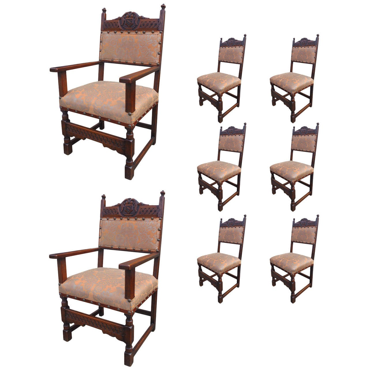 Set Of Eight Italian Renaissance Style Dining Chairs In