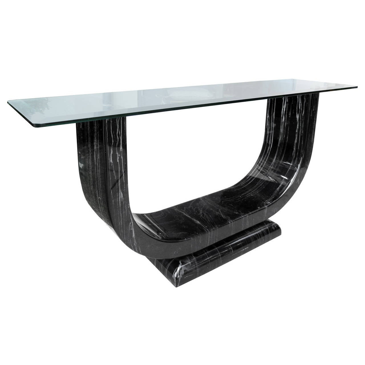 Mid-Century Faux Marble Console in the Style of Karl Springer with Glass Top