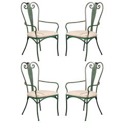 Set of Four 20th Century French Iron Chairs