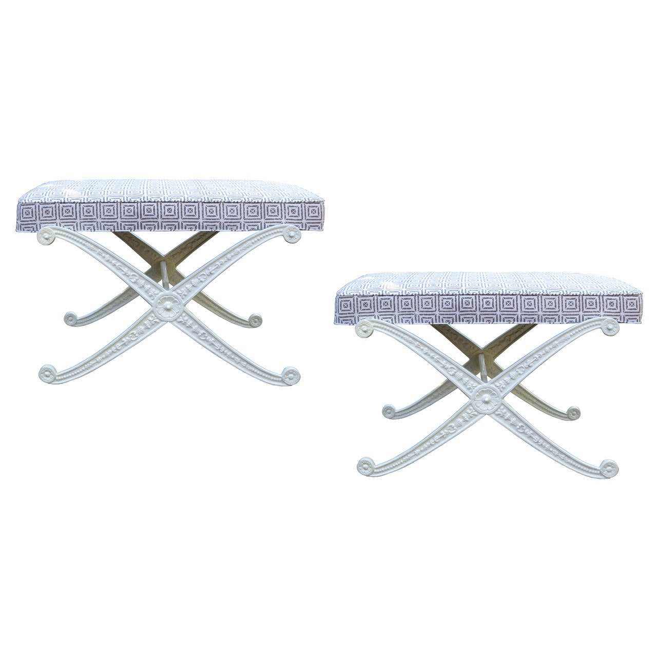 """Pair of 20th Century White Painted """"X"""" Metal Benches"""