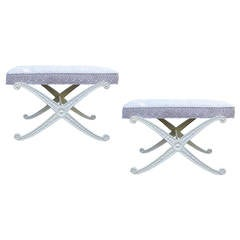 "Pair of 20th Century White Painted ""X"" Metal Benches"