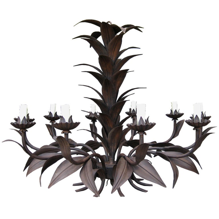 20thC Gathered Tole Leaf 12-Light Chandelier, Dark Patina 1