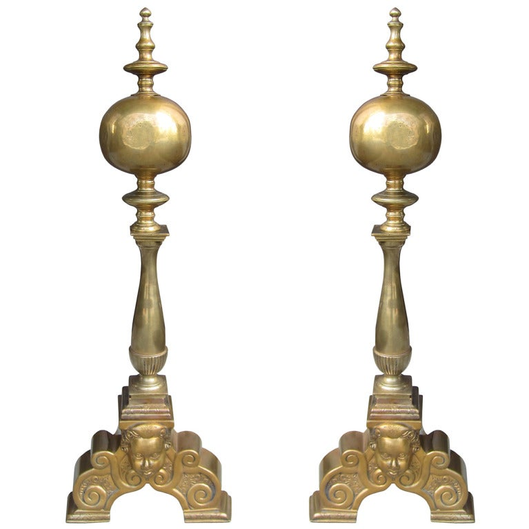 Late 19th-Early 20th Century Pair of Superior Brass Andirons with Face