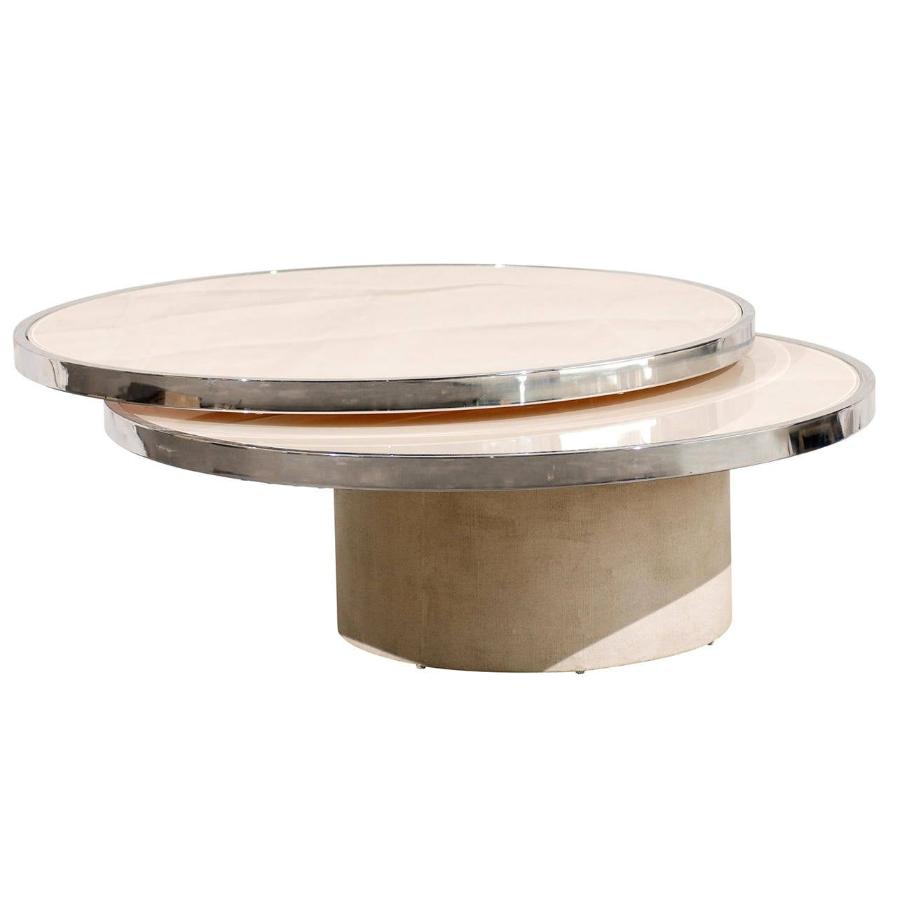 Mid Century Round Rotating Glass Coffee Table In The Style Of Rougier At 1stdibs