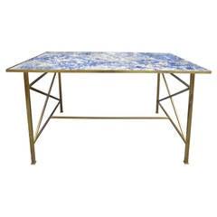Mid-Century Bronze Table, Incredible Blue Bahia Stone Top