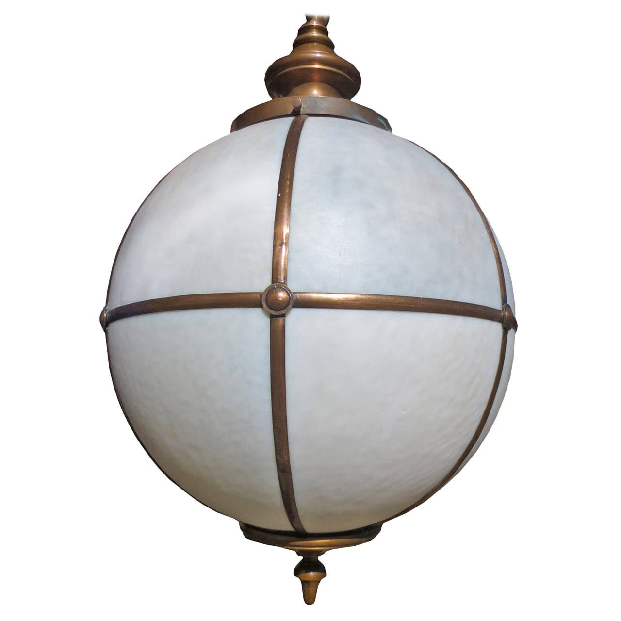 Hanging Light Fixture: Early 20th Century Large Globe Form Hanging Light Fixture