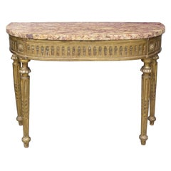 18th/19th Century Continental Carved Giltwood Demilune Console, Breche Marble