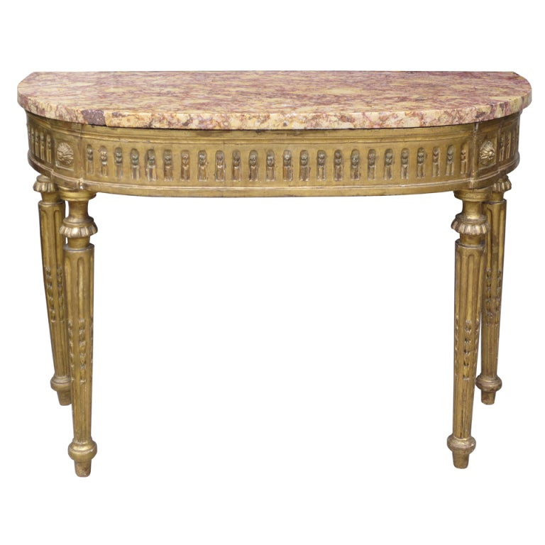18th Century Carved Giltwood Console with Marble Top