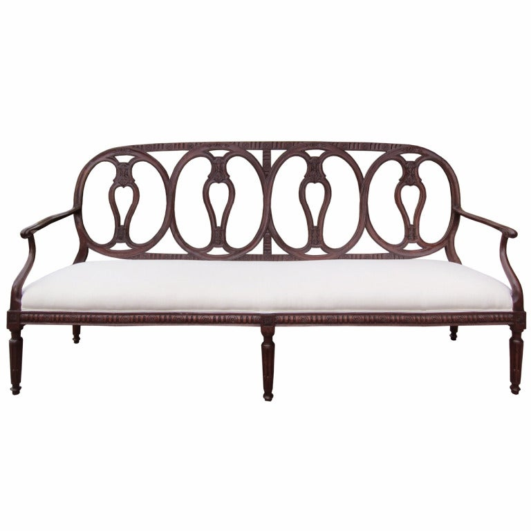 Fabulous 18th-19th Century Italian Bench with Carved Back