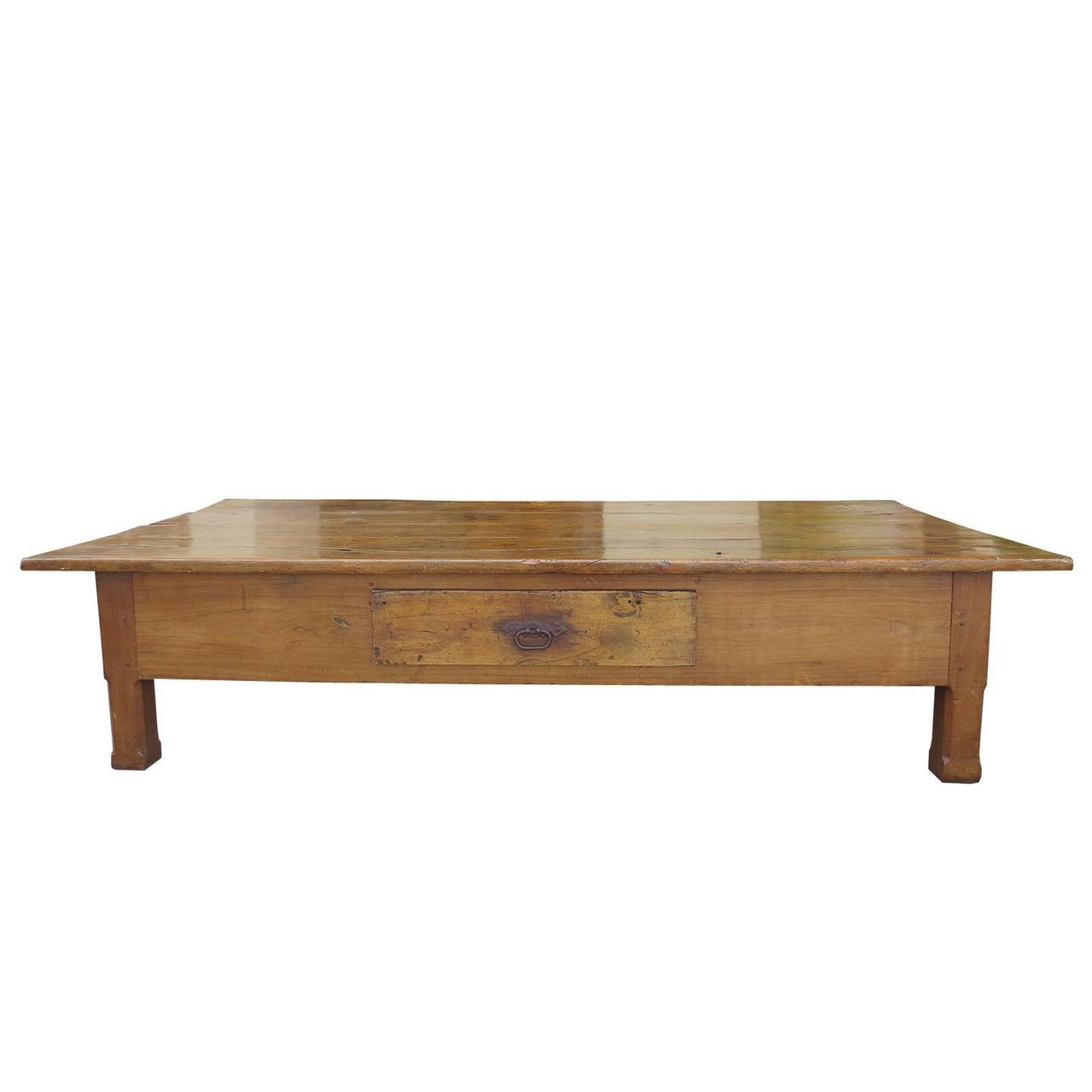 19th century french jumbo fruitwood coffee table with drawer at 1stdibs