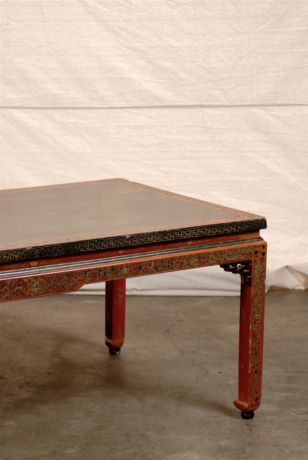 Charming 18th 19th Century Chinese Coffee Table With Leather Top 3