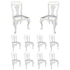 Set of Ten 19th Century English, George II Style Painted Chairs