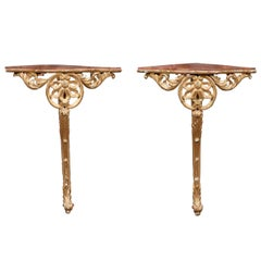 Pair of 18th or 19th Century Italian Giltwood Corner Console Tables