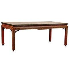 18th 19th Century Chinese Coffee Table With Leather Top