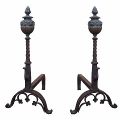 Pair of 19th Century Continental Iron and Bronze Andirons with Faces on Finial