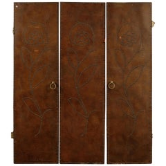 Set of Three 20th Century Leather Doors with Brass Studs