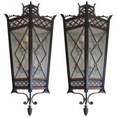 Pair of 20th Century Jumbo Iron and Brass Lanterns