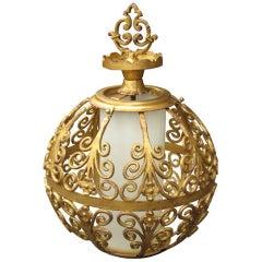 Mid C Gilded Globe Light Fixture