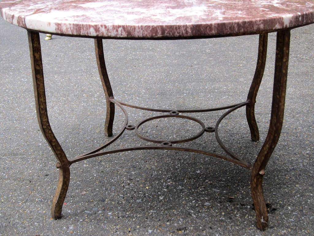 Early 20th Century Deco Round Iron Coffee Table With Red Marble Top For Sale At 1stdibs