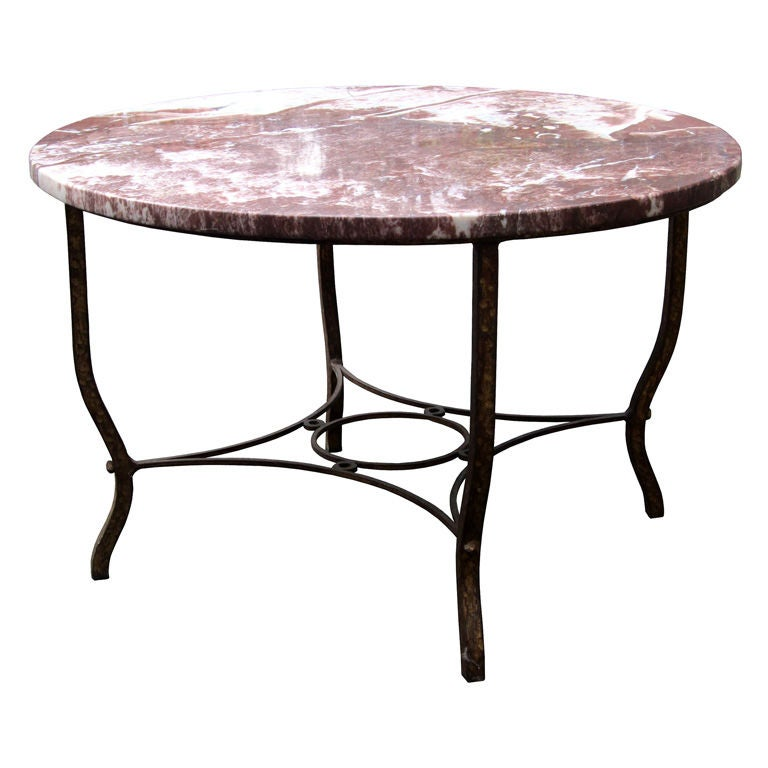 Early 20th century deco round iron coffee table with red for Stone and iron coffee table