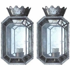 Pair Of 20thc White Metal Mirrored Sconces