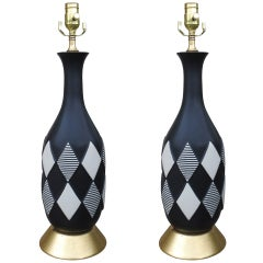 Pair Of Mid C Harlequin Lamps On Custom Gilded Bases