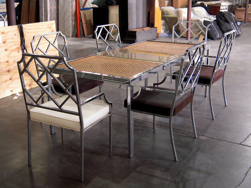 chrome dining set by milo baughman with six chairs with one leaf and