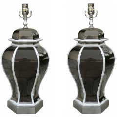 Pair Of Mid C Mercury Glass & Bamboo Lamps
