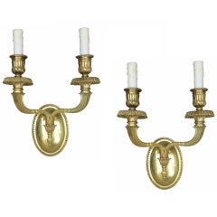 Pair Of Late 19th/early 20thc Brass Sconces By Caldwell