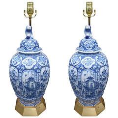 Pair of 18th-19th Century Dutch Delft Lamps