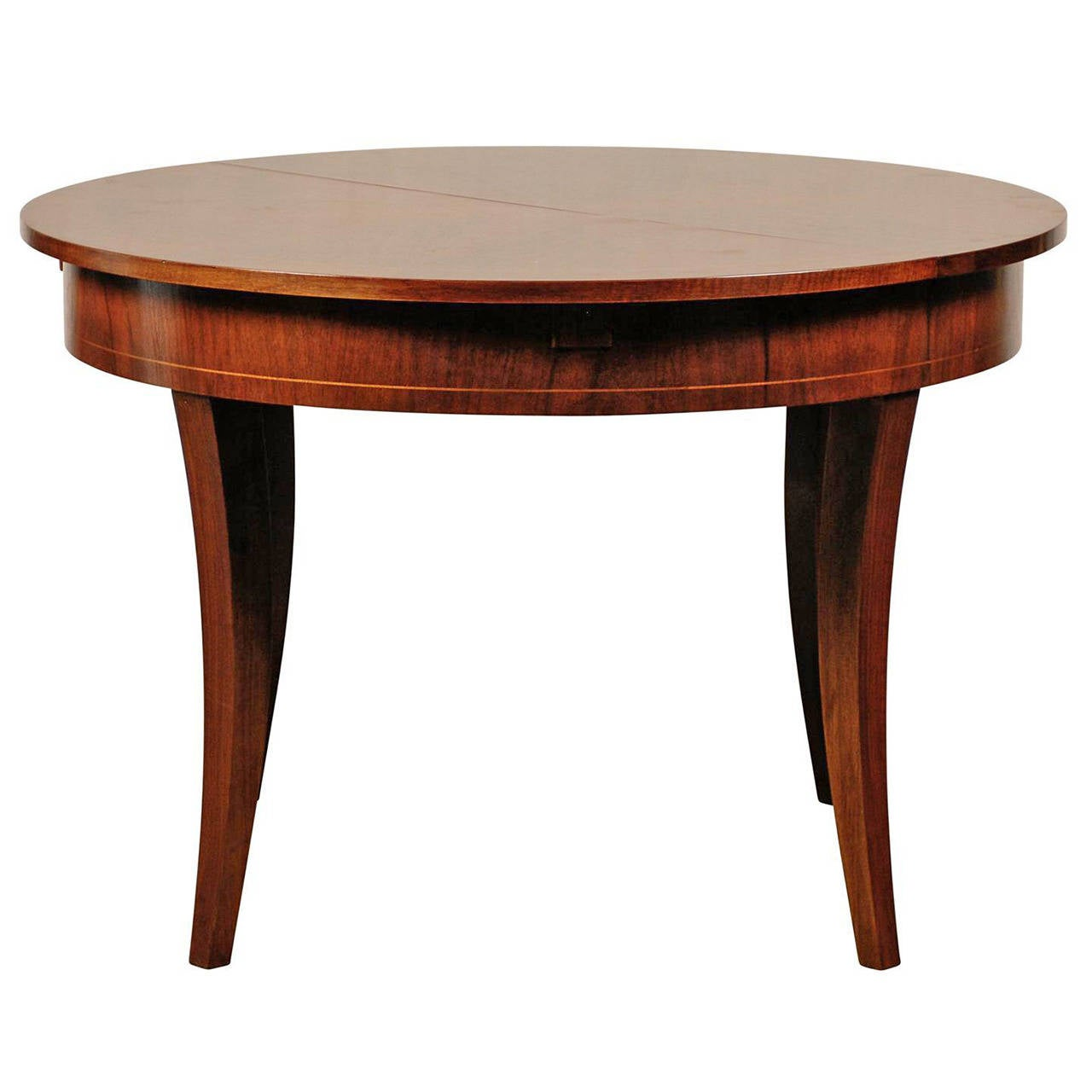 AUSTRIAN STYLE ROUND WALNUT EXTENSION DINING TABLE For Sale At 1stdibs