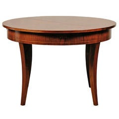 20th Century Austrian Style Round Walnut Extension Dining Table