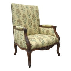 19th Century Large Louis XV Style Bergere in Jasper