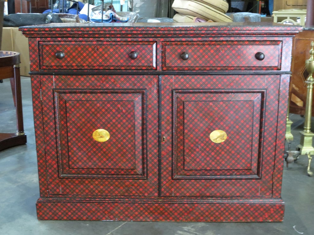 19th Century English Tartan Cabinet with Two Drawers 2