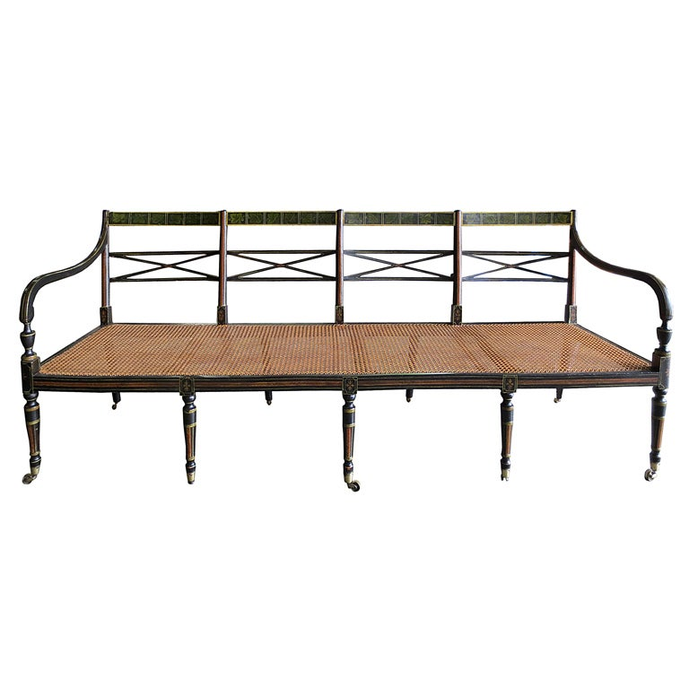 19thc American Cane Bench Beautifully Painted At 1stdibs