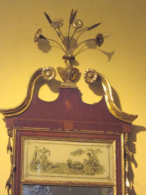 19th century federal style mirror with gilt detail & églomisé.