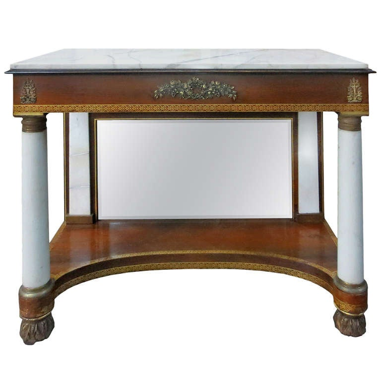 Early 19th Century Fine Classical Marble-Top Mahogany Pier Table
