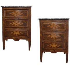 Pair of 19th century Italian Commodes, Parquetry Inlay, Marble Top