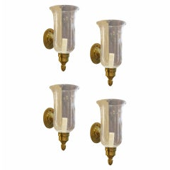 Set Of Four 20thc  Brass One-arm Sconces With Hurricane Globes