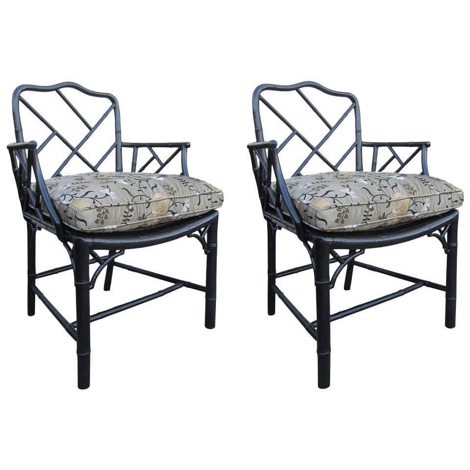 Pair of 19th Century Regency Style Ebonized Bamboo Arm Chairs, Cane Seats